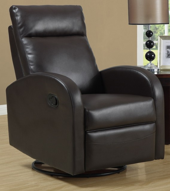Swivel rocker recliner brown contemporary living room chairs by shopladder for Swivel chairs for living room contemporary