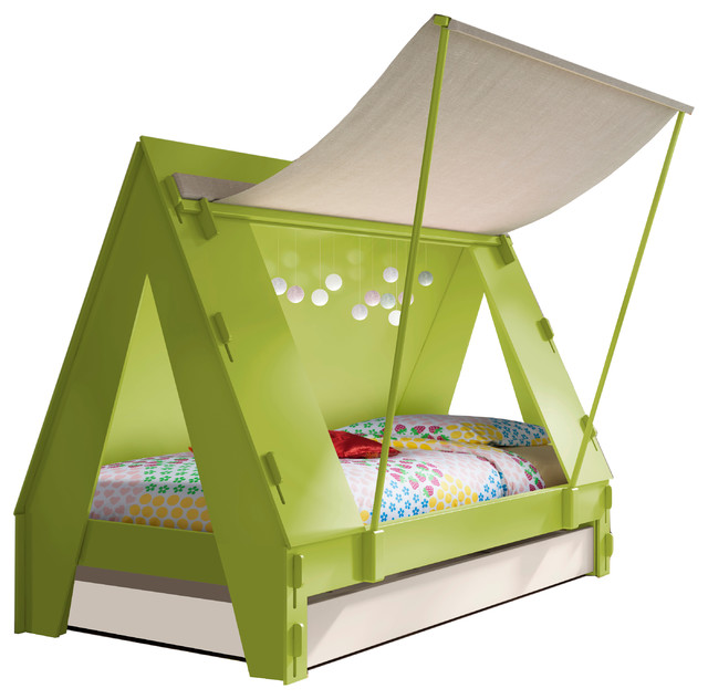 Green Twin Tent Bed With Trundle Drawer Solid Pine
