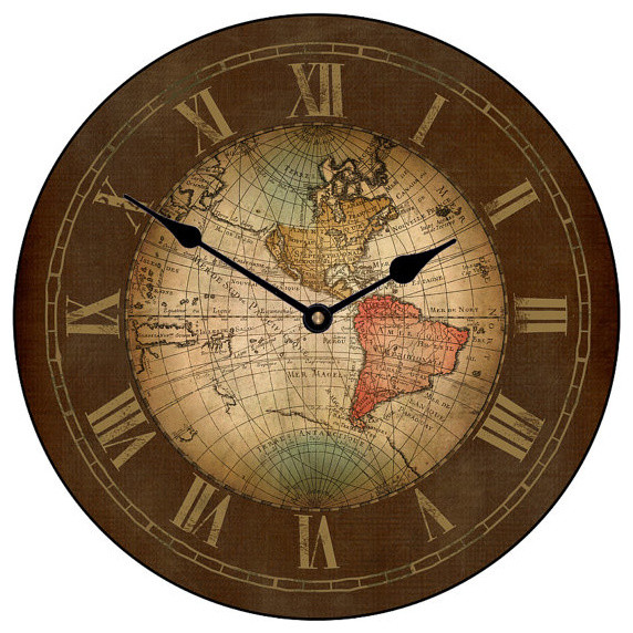 Old world map clock traditional clocks for Kitchen cabinets lowes with antique world map wall art