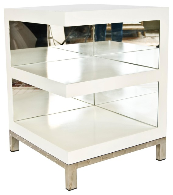 Worlds Away Open Ended Side Table - White Lacquer - Traditional - Side Tables And End Tables ...