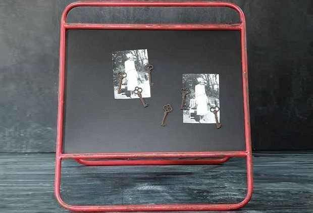 Red Metal Double Sided Chalkboard Farmhouse Home Decor