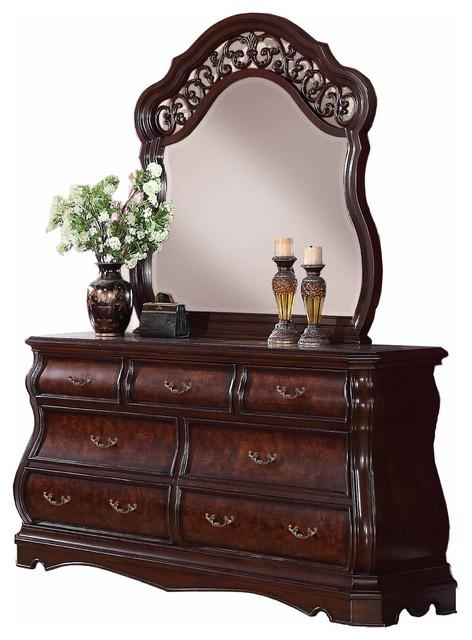 Tuscany Modern Wood Dresser Mirror Cherry Finish