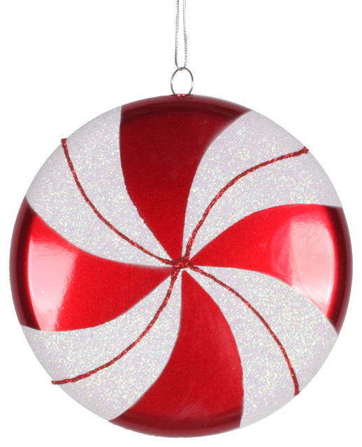Quot red and white swirl flat plastic candy christmas