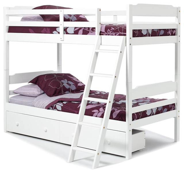 Chelsea Home Twin Over Twin Bunk Bed With Under Bed