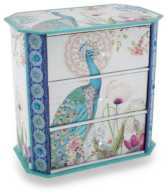 sparkling peacock flower garden 3 drawer jewelry box