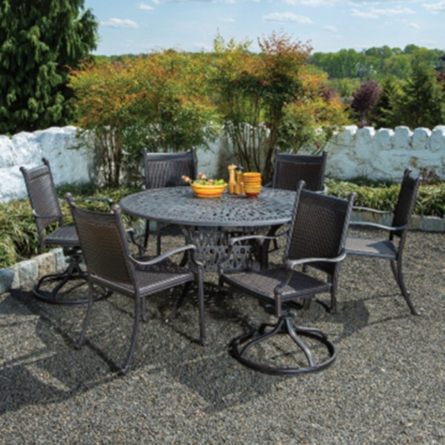 Contemporary Outdoor Dining Sets: Alfresco Home Anchor All Weather Wicker Round Dining Set