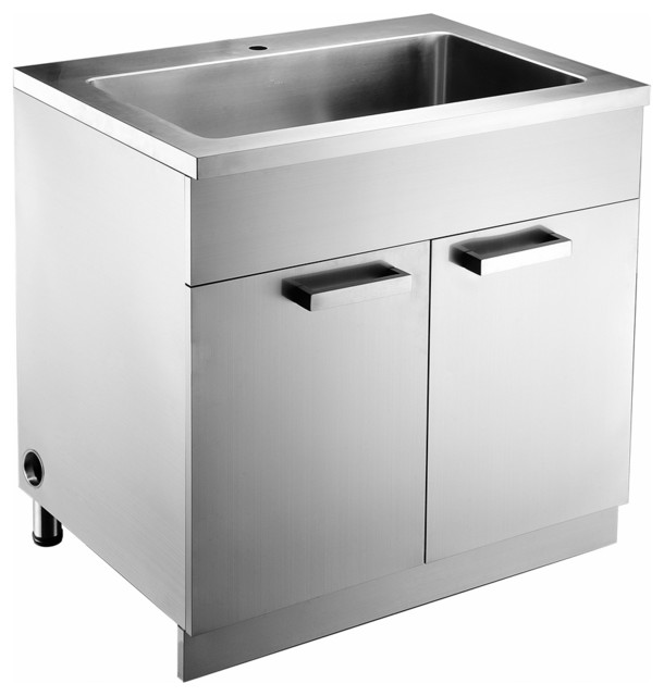 Stainless Steel Sink Base Cabinet with Garbage Can and Cutting Board with Rack - Contemporary ...