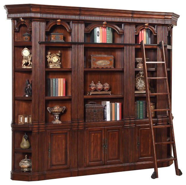 5-Piece Wellington Library Bookcase Wall Unit, Mahogany