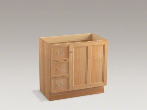 Kohler Damask Tm 36 Vanity With Toe Kick 1 Door And 3 Drawers On Left Contemporary