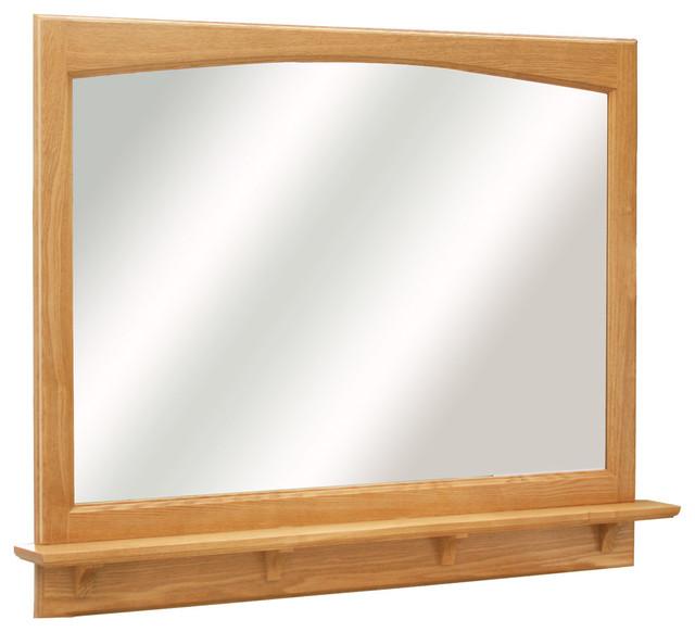 richland 38 quot mirror shelf nutmeg oak finish traditional