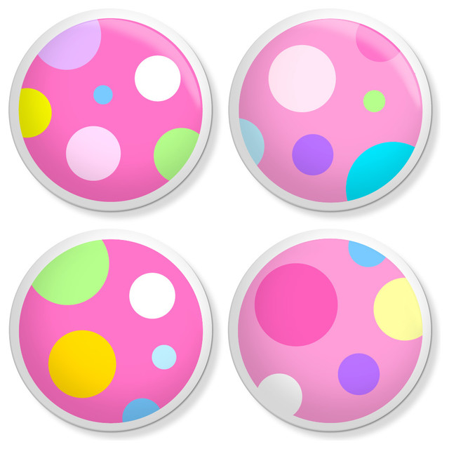 Kids Dresser Knobs - Pink Poka-Dots - Contemporary - Cabinet And Drawer Knobs - by New Speed Limit
