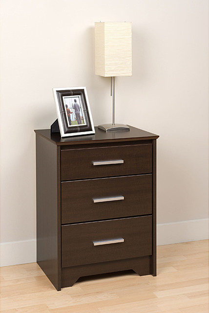 Yaletown tall espresso 3 drawer night stand contemporary for Tall modern nightstands