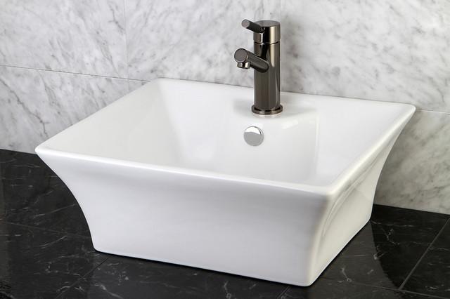 White vitreous china vessel sink contemporary bathroom for Designer bathroom sinks basins