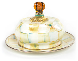 Parchment Check Enamel Butterhouse | MacKenzie-Childs - Eclectic - Serving Dishes And Platters ...