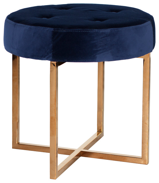 Charlize hollywood regency navy blue velvet tufted gold for Navy blue chair and ottoman