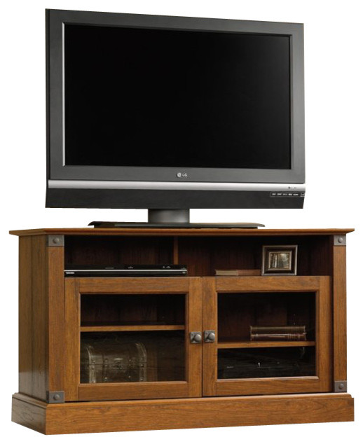 Sauder Carson Forge Panel TV Stand in Washington Cherry ...