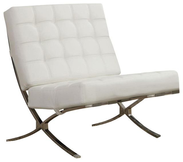 X style waffle accent chair chrome legs and white faux for Contemporary armchair