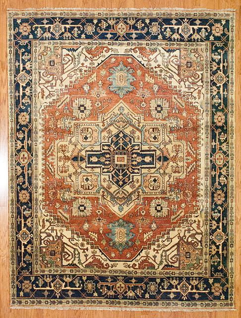 Indo Hand Knotted Serapi Rust Blue Wool Rug Traditional