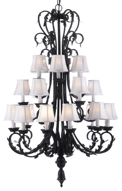Foyer Chandelier With Shades : Large foyer entryway wrought iron chandelier with white