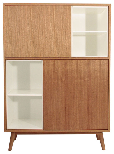 grand buffet en bois d 39 orme et blanc hauteur 140 cm contemporain buffet et bahut par. Black Bedroom Furniture Sets. Home Design Ideas