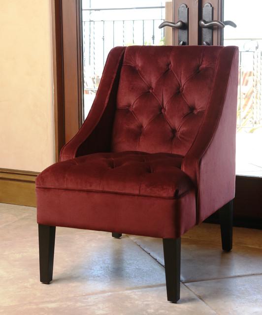 Burgundy Print Accent Chair: ABBYSON LIVING Laguna Tufted Burgundy Swoop Chair