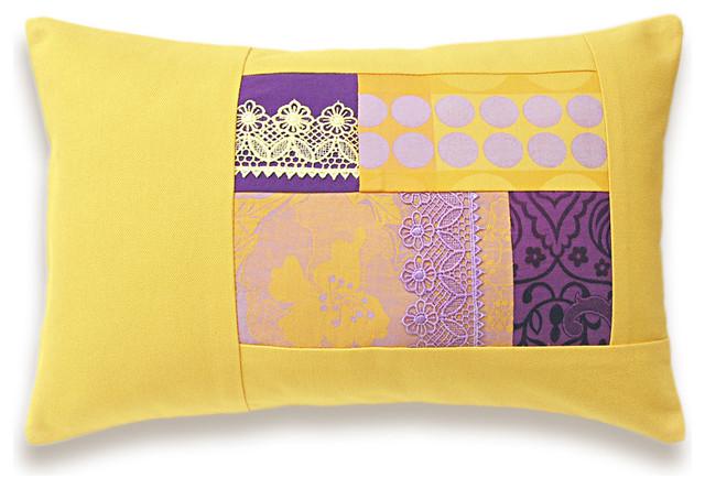 Yellow Lavender Purple Lumbar Pillow Case 12 X 18 In Irma