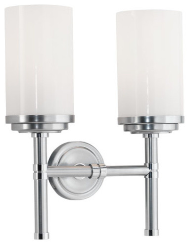 Transitional Chrome Wall Sconces : Robert Abbey Halo Double Sconce DS1325 - Transitional - Wall Sconces - by Benjamin Rugs and ...