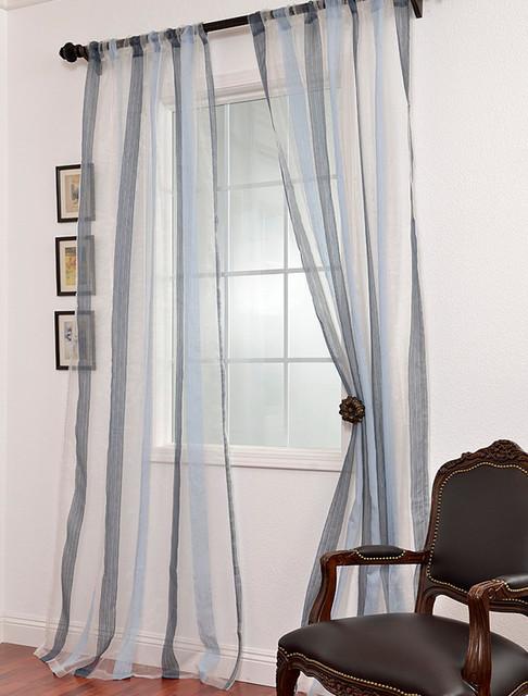 Blue linen curtain panels
