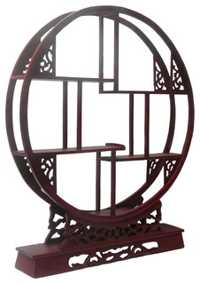 Chinese Red Brown Wood Round Small Curio Display Easel - Asian - Plate Stands And Hangers - by ...