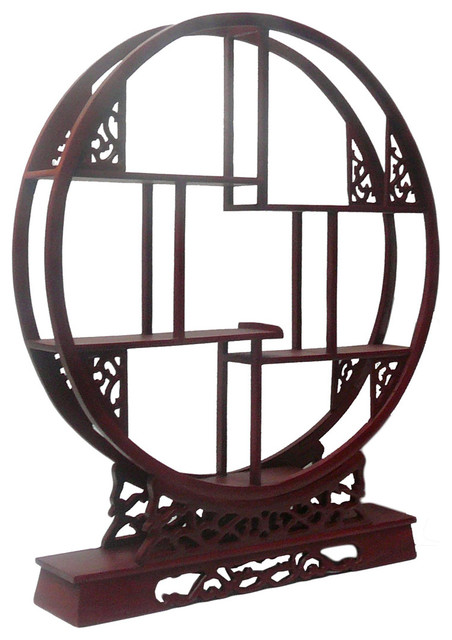 Chinese Red Brown Wood Round Small Curio Display Easel - Asian - Plate ...