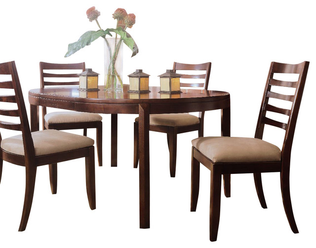 American Drew Tribecca 7 Piece Round Leg Table Set In Root Beer Color Tradi