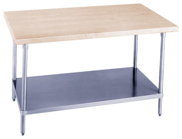 Maple Top Chef Table With Shelf 30 X24 Contemporary
