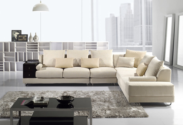Contemporary beige soft fabric sectional sofa chaise chair for Beige sectional with chaise