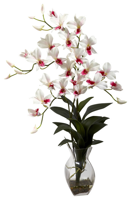 Dendrobium Orchid With Vase Arrangement Tropical Artificial Flower Arrangements By