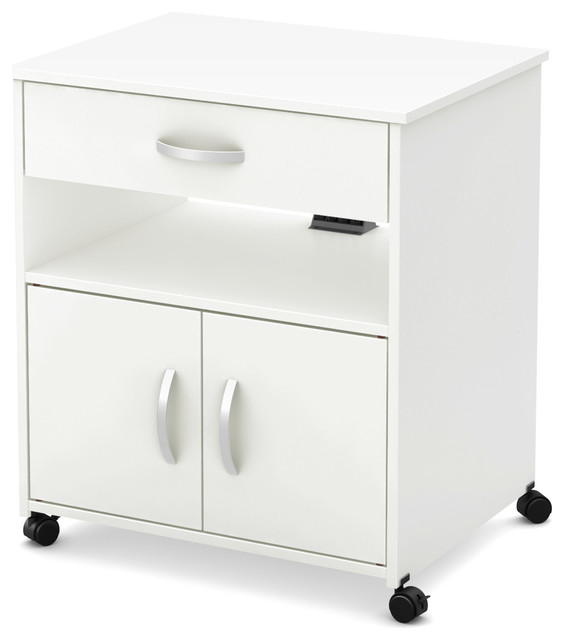 South Shore Fiesta Microwave Cart on Wheels Pure White