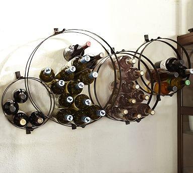 Sculptural Circles Wall Mount Metal Wine Rack