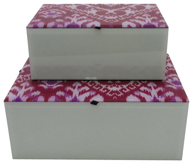 Pink Glass & Wood Box, Large - Modern - Decorative Boxes