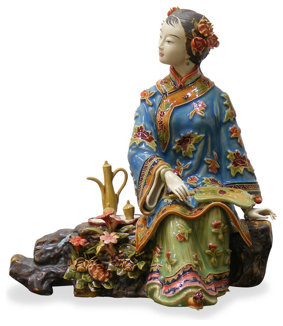 Chinese shi wan porcelain lady asian decorative for Asian furniture westmont il