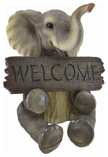 Adorable pachy princess baby elephant welcome sign home decor traditional outdoor decor by Elephant home decor items