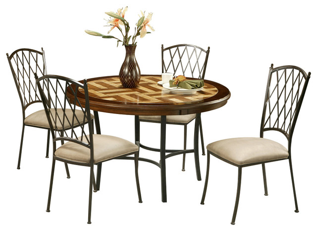 Pastel atrium 5 piece round dining room set with poly for Traditional round dining room sets