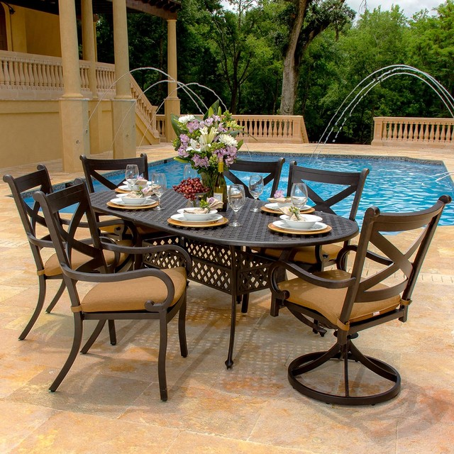 Contemporary Outdoor Dining Sets: Avondale 6-Person Cast Aluminum Patio Dining Set