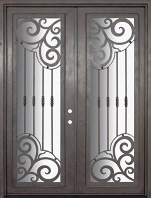 Barcelona 72x96 forged iron double door 14 gauge steel for 14 gauge steel door