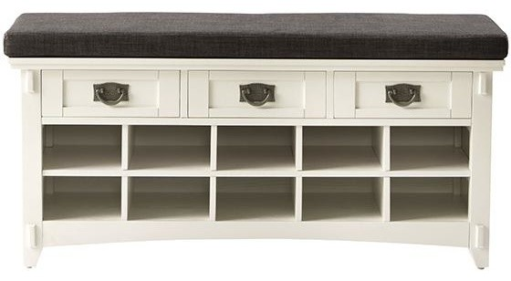 Artisan bench with shoe storage white traditional accent and storage