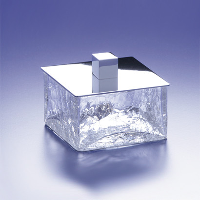 Square crackled crystal glass bathroom jar contemporary for Crackle glass bathroom accessories
