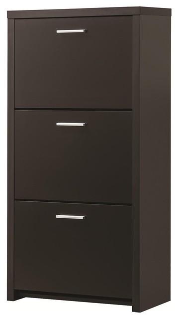 Tall 3-Drawer Shoe Organizer, Deep Espresso - Traditional - Shoe Storage - by ADARN INC.