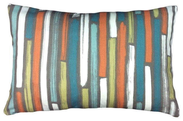 Turquoise Orange And Lime Lumbar Pillow Cover