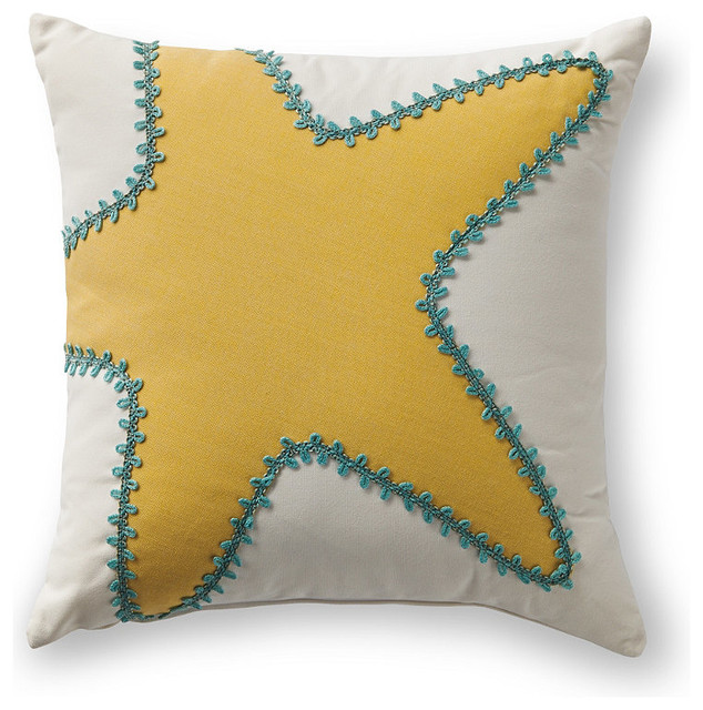 Beach Style Outdoor Cushions : Starfish Applique Lemon Outdoor Pillow - Beach Style - Outdoor Cushions And Pillows - by FRONTGATE
