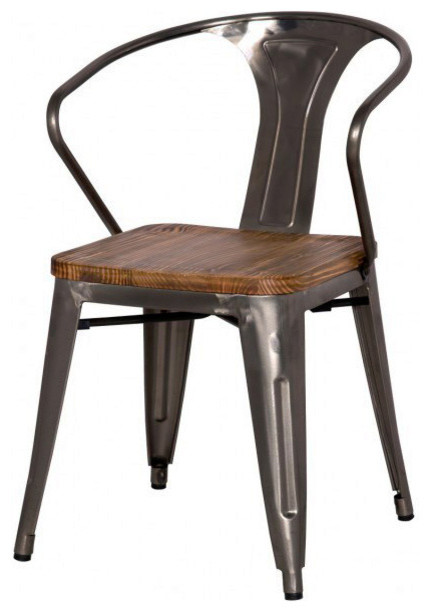 Grand Metal Arm Chair SET OF 4 Industrial Outdoor  : industrial outdoor dining chairs from www.houzz.com size 430 x 612 jpeg 44kB