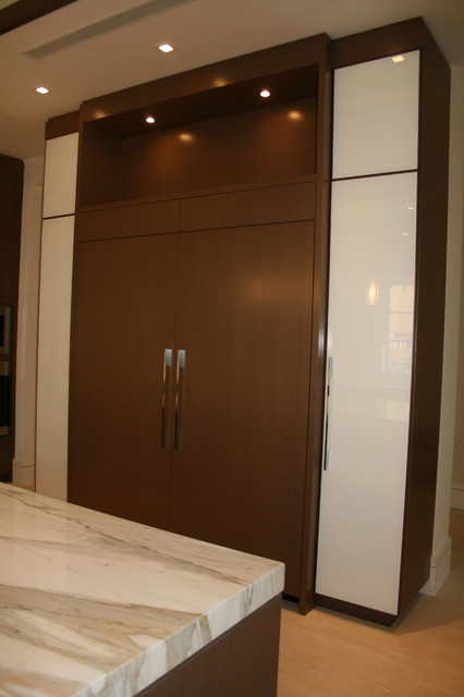 Glass cabinet doors using white back painted glass for Back painted glass design