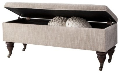 Threshold End Of Bed Bench With Casters Pewter